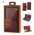 IPhone 7 Plus For Reiko Genuine Leather Wallet Fold RFID Protection | Burgundy Case