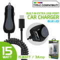 High Powered 3 Amp /15 Watt Type-C USB Car Charger with Extra USB Port [Blue LED light] Smart IC Chip Prevents Overheating Overcharging For HTC 10/ Bolt Cellphone