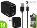 Cellet Black 18W USB Wall Charger 2.0 Quick Qualcomm Certified Charge W/Micro USB Cable 5 Ft.[Blue LED light] Smart IC Chip Prevent Overheating /Overcharging For LG V20 Cellphone