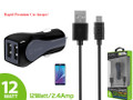 Car Charger Cellet - Gray Rapid Charge Premium 12W 2.4A Dual USB W/Micro USB Cable [Blue LED light] Smart IC Chip Prevents Overheating / Overcharging For LG G Vista/VS880 (AT&T/Verizon) Cellphone