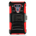 Holster Hybrid Combo Armor With Swivel Kick Stand/ Red Cover Case For LG G6 Cellphone