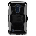Holster Hybrid Combo Armor With Swivel Kick Stand/ Grey/Black Cover Case For LG K10 Cellphone
