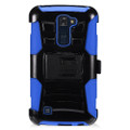 Holster Hybrid Combo Armor With Swivel Kick Stand/ Blue/Black Cover Case For LG K10 Cellphone