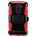 Holster Hybrid Combo Armor With Swivel Kick Stand/ Red/Black Cover Case For LG K10 Cellphone