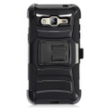 Holster Hybrid Combo Armor With Swivel Kick Stand Black Cover Case For Galaxy J3 (2016) J320/ Galaxy Sky S320/ Galaxy Sol J321/ Amp Prime/ Express Prime (AT&T/ Boost Mobile/ Sprint/ Cricket/ Straight Talk) Cellphone