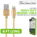 Cellet Lightning 8 Pin (Apple MFI Certified) 6ft. (2m) Heavy Duty Nylon Braided USB Charging plus Data Sync Gold Cable Fits Apple Iphone 5c/5s/5se/6/6s/7 Plus