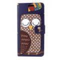 Wallet Fold PU Leather Pouch Navy Blue Owl For Samsung Galaxy Note 8 /N950  Cellphone