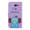 Wallet Fold PU Leather Pouch [Elephant]  For Samsung Galaxy J7 Perx/ J7 Prime/ Halo/ J7 Sky Pro/ J7 V/ J7 (2017) J727  Cellphone