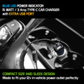 High Powered 3 Amp /15 Watt Type-C USB Car Charger with Extra USB Port [Blue LED light] Smart IC Chip Prevents Overheating Overcharging For Samsung GALAXY TAB S3 / GALAXY S8 Cellphone