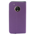 Wallet Fold  [ Purple ] PU Leather Cover Case For Motorola Moto G5 Plus /XT1685 Cellphone