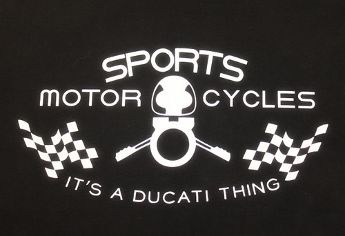 Sports Motorcycles Black T-Shirt Closeup