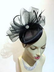 Mariah Round Satin Fascinator/hat/cocktail hat