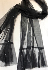 Black Net Shawl with Crystals