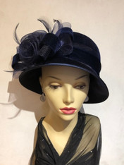 Aira Blue Velvet Cloche Hat