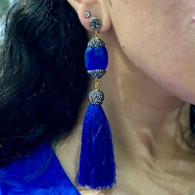 Electric Blue Tassel Earrings