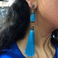 Baby Blue Tassel Earrings