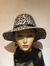 Leopard Wool Felt Fedora
