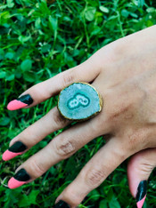 Gold Plated Green Agate Ring