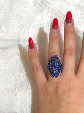 Royal Blue Crystals Ring (Sterling Silver)