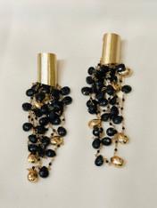 Black Onyx Gold Earrings