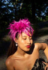 Fuchsia Feather Headband
