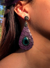 Snake Skin/Crystal/Stone Earrings