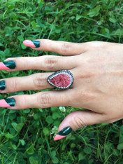 Coral and Crystal Ring