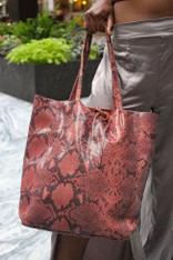 Pink Print Leather Tote Bag
