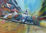 Takuma Sato wins the 2017 Indy 500!! Painted live at the Firestone Chalet post-race celebration with appearances by Michael Andretti and Takuma Sato. Limited Edition of 100 prints available!!