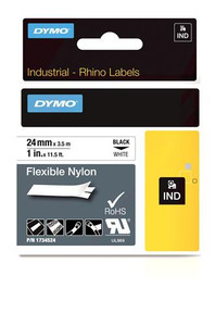 """Flexible Nylon Label, Black on White, 1"""" (1734524)"