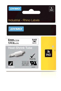 """Heat Shrink Tube Label, Black on White, 1/4"""" (18051)"