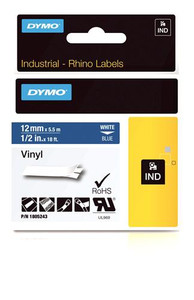 """Vinyl Label, White on Blue, 1/2"""" (1805243)"