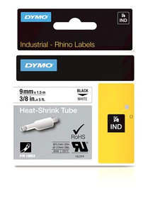 """Heat Shrink Tube Label, Black on White, 3/8"""" (18053)"