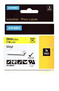 """Vinyl Label, Black on Yellow, 1"""" (1805431)"