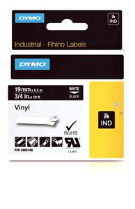"""Vinyl Label, White on Black, 3/4"""" (1805436)"