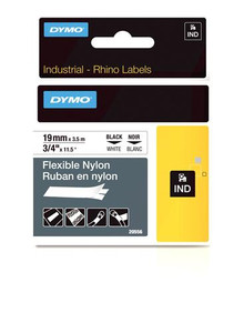 """Flexible Nylon Label, Black on White, 3/4"""" (18489)"