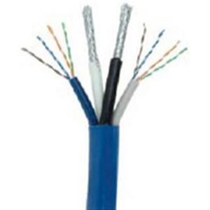 2x CAT6E 23 AWG UTP + 2x RG6/U Quad Shield Coax Cable; BC; Bundled - Blue (HNC-8)