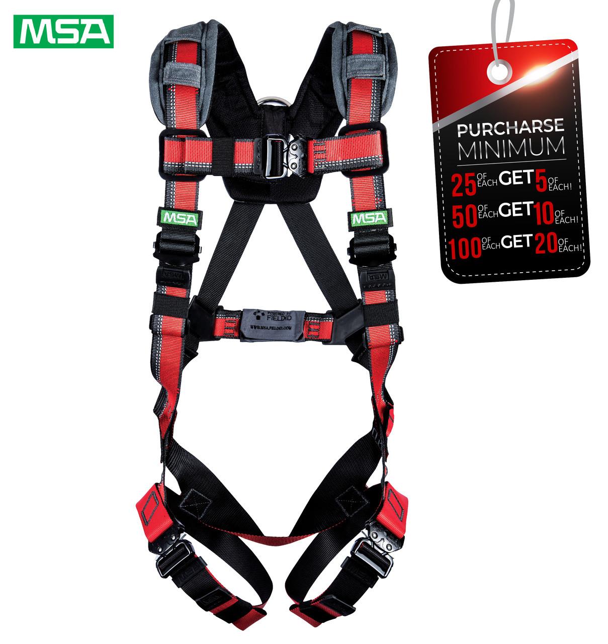 MSA 10155559 EVOTECH® Lite Harness, Back D-Ring, Quick Connect leg