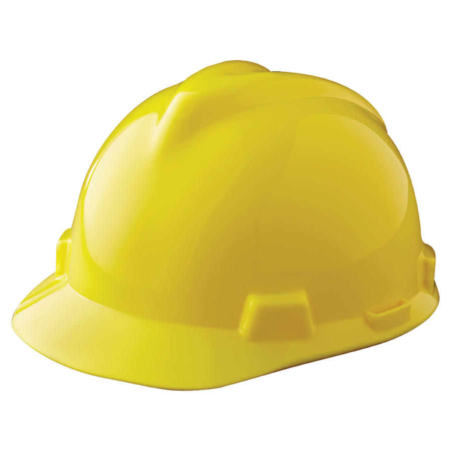 MSA 463944 V-Gard Yellow Hard Hat with Staz-On Suspension (Cap Style)