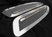 Jaguar XKR & XKR-S Supercharged Mesh Hood Louver set (bright stainless of paint finish options) 07-11