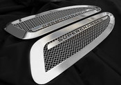 Jaguar XKR & XKR-S Supercharged Mesh Hood Louver set (bright stainless of paint finish options)