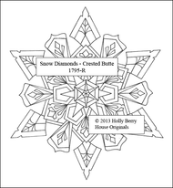 The Crested Butte Snow Diamond snowflake rubber art stamp.