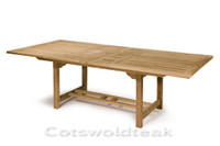 Arrow rectangular table 240cm extending to 300cm by 110cm wide. the table top is 40mm thick. shown extended.