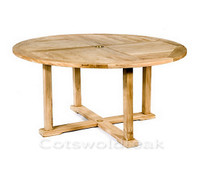 Cotswold Teak Churn 150cm diameter round table. The table top is 28mm thick.