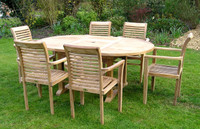Cotswold Teak garden furniture set: Avon 150cm extending to 210cm table with 6 Tingewick stacking chairs.