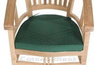 Cotswold Teak Glaramara chair cushion available in green or blue.