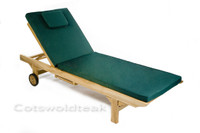 Cotswold Teak Sun Lounger cushion available in green or blue.
