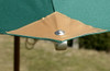 Picture of Cotswold Teak 2.5m Premium Parasol showing how the canopy is fixed to the spars. Fixings are easily removed if canopy needs to be cleaned.