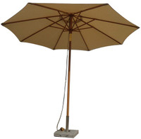 Cotswold Teak Kingham 3m Premium Parasol, available in 3 colours, Green, Navy Blue and Beige.