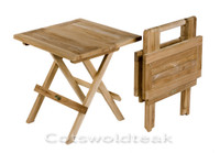 Cotswold Teak square solid top picnic table with handles.